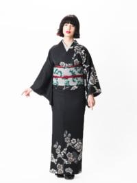 コンポジションキモノ 大バラ花のぞき(黒)F