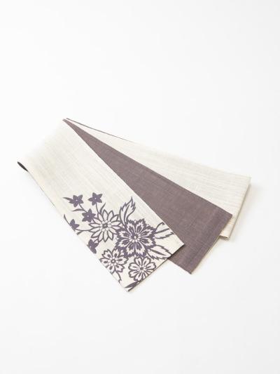 半巾帯0105-01本麻(洋花・白×茶)ポイント