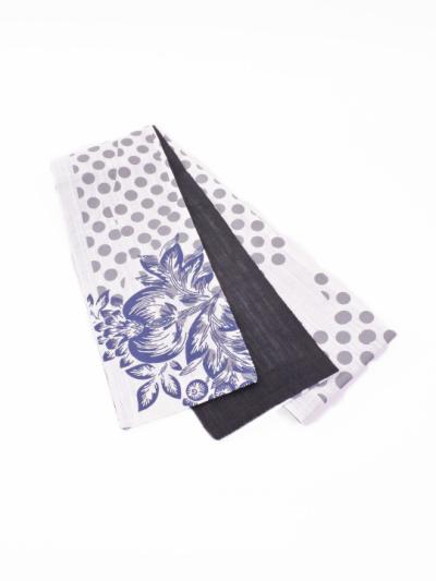半巾帯0135-02本麻(草花とドット・白×黒)全通