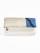 二つ折クラッチ 縞ボタン バイカラー 白金×青 (シロ)