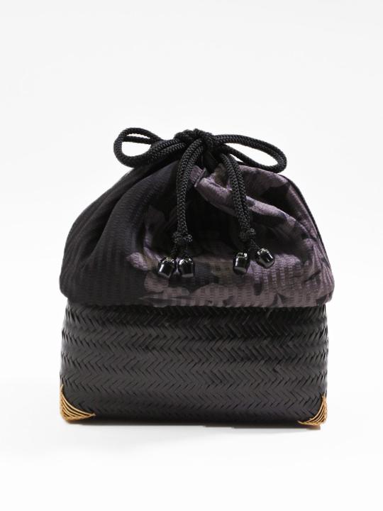 網代巾着 黒18-14-01 (半面百花・チャコールグレー)