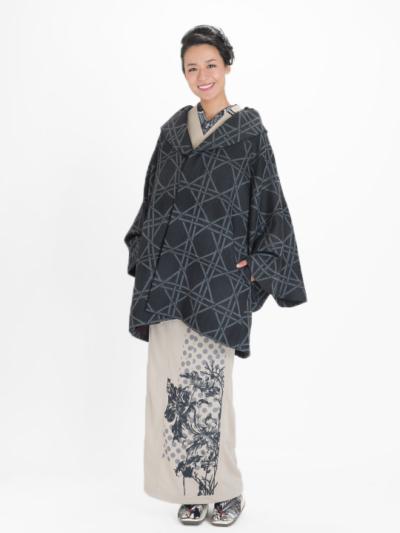 レディース 籠目タック衿コート 黒