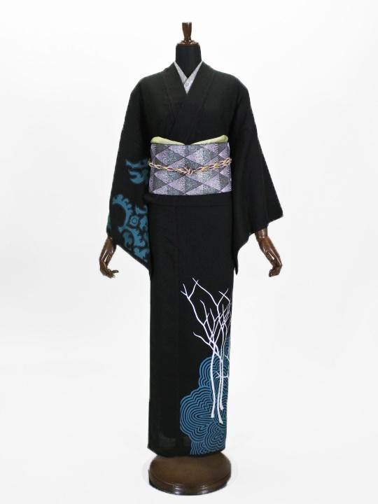 レディース 麻ポリキモノ 縞ボタン・花紋(ブラック)F