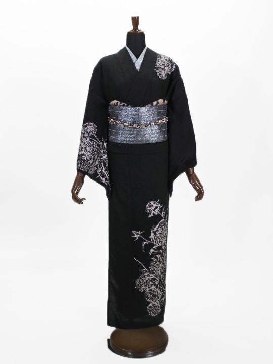 レディース 麻ポリキモノ 百花(ブラック)F
