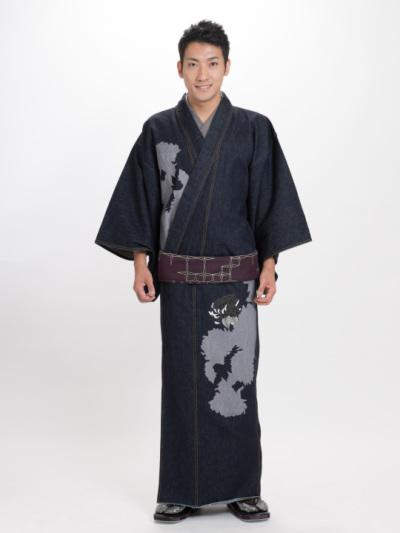 メンズデニム13OZ 菊シルエット・刺繍菊(濃BU×金茶)
