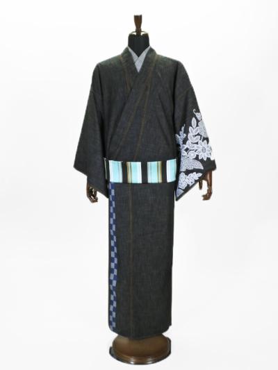メンズデニム6.5OZ 市松・レースブーケ�A(BK×金茶)