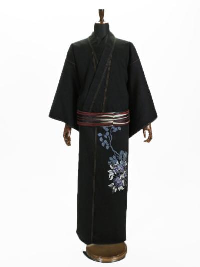 メンズデニム 13OZ 枝葉シルエットポイント花(濃BK×金茶)