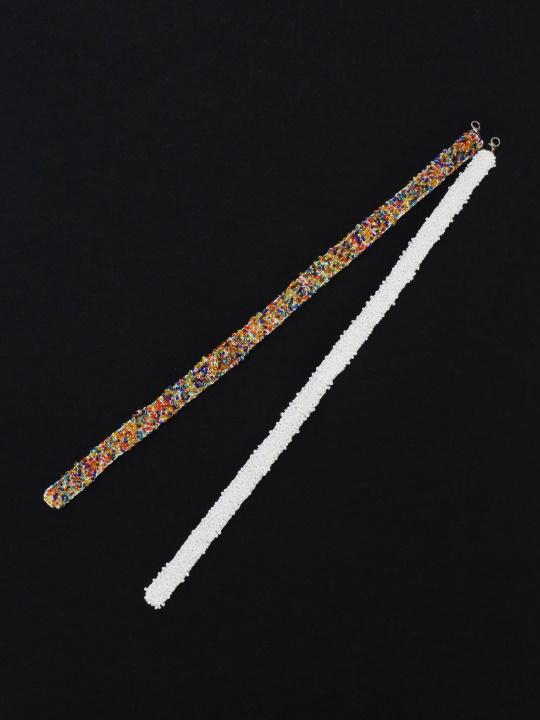 羽織紐 ビーズ (マルチ×シロ)L