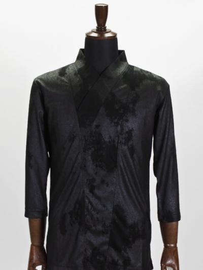 着物衿カットソー クラッシュレザー(黒)