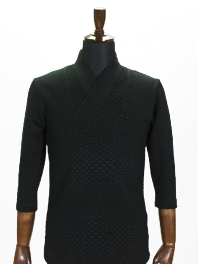 着物衿カットソー ブリスター(ブラック)
