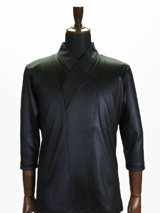 着物衿カットソー カレンダーニット(ブラック)