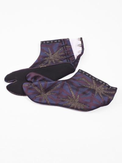 足袋 やぶれ麻ノ葉 (紫)