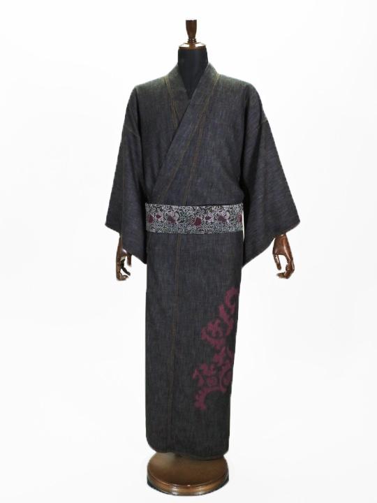 メンズデニム浴衣 6.5OZ 破れヨロイ花紋�A(BK×金茶)