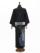 メンズデニム着物6.5OZ縞ボタン花紋(濃BK×金茶)