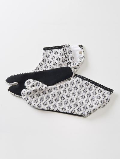 足袋 フラワーレース(白×シルバースカイ)