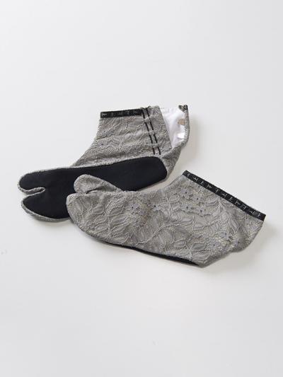 足袋 フラワーラッセルレース(グレー×グレー)