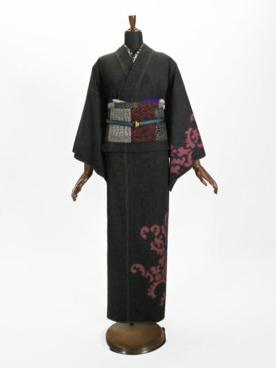 レディースデニム10.5OZ 破れヨロイ花紋(BK×金茶)F