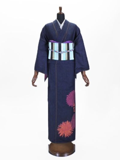 レディースデニム6.5OZ 菊詰め�A(濃BU×金茶) F