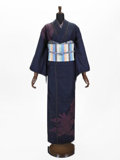 レディースデニム6.5OZ 市松・レースブーケ(濃BU×金茶) F