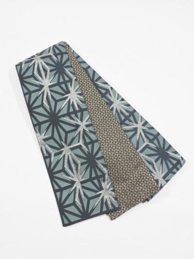 半巾帯0116-06 麻の葉柄(ブルーグリーン系)