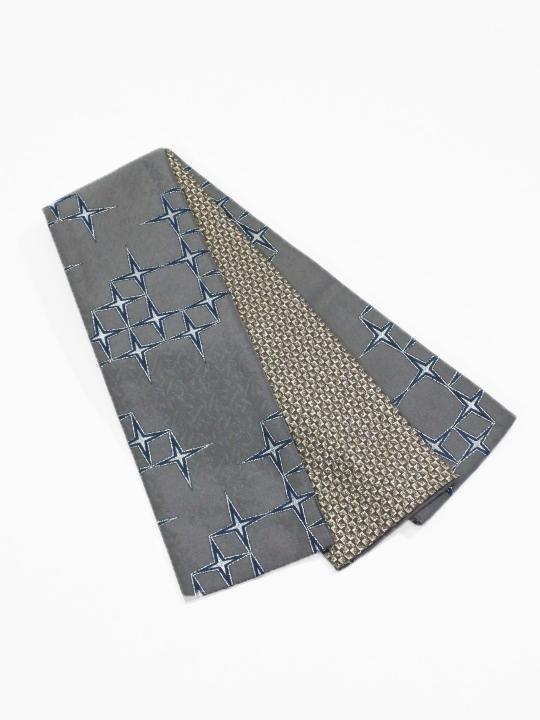 半巾帯0072-03 十字星(グレー×ネイビー)