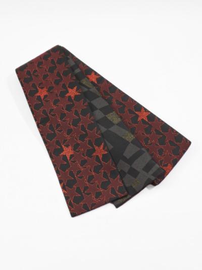 半巾帯0118-05 星柄(黒×赤)