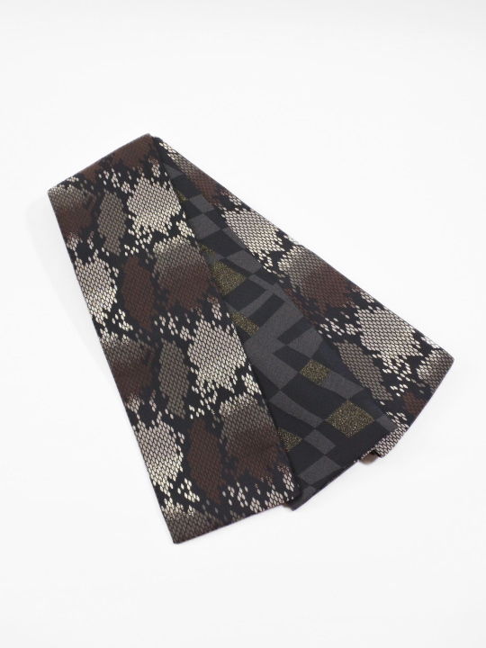 半巾帯0047-06 パイソン(黒・グレー系)