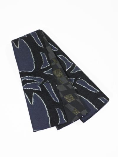 半巾帯0165-01 太線(黒×チャコールグレー)
