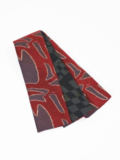 半巾帯0165-02 太線(赤×グレー)