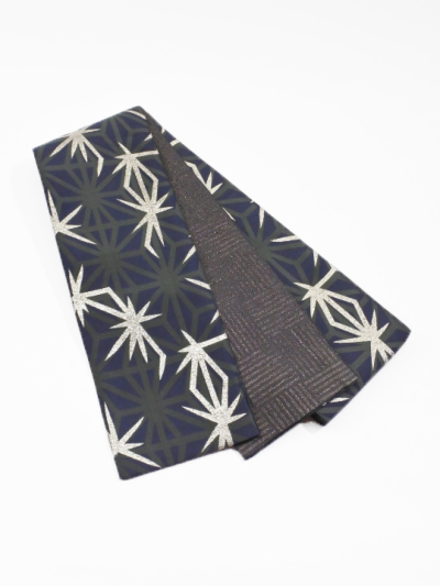 半巾帯0116-10 麻の葉柄(カーキ系)