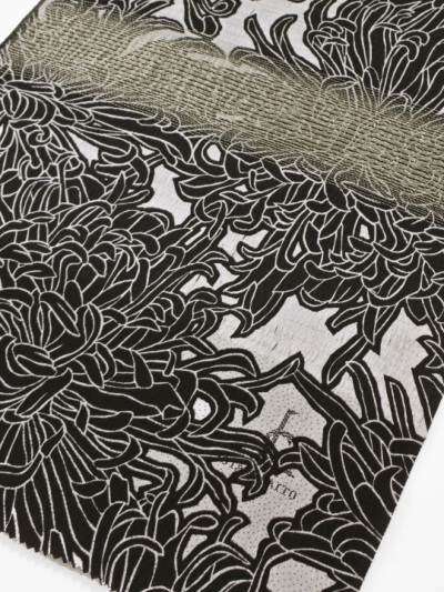 OA18-01-01帯揚げ(銀通し糸菊・黒×白)