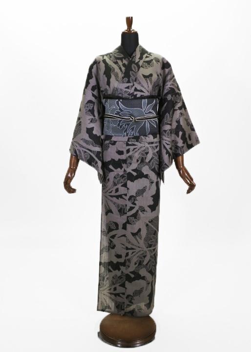 浴衣・上太郎20-06-11 レースに大バラ紋様 チャコール(プレタ)